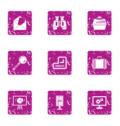 Business resource icons set grunge style vector