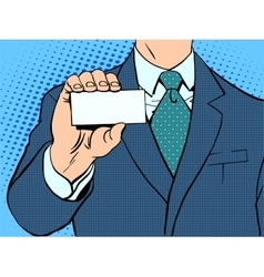 Businessman and business card vector image