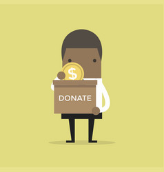 businessman putting coin in the donation box vector image