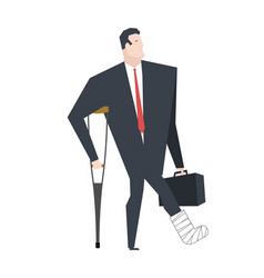 businessman with crutch in plaster leg boss is vector image