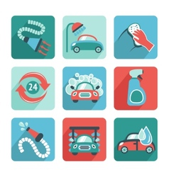 Car Wash Icons Flat vector image