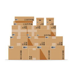 cardboard boxes pile isolated on white vector image