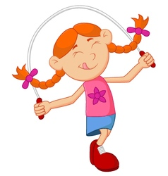Cartoon girl play jump rope vector image