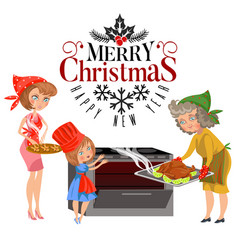 Cartoon happy family with sign merry christmas vector