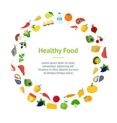 cartoon healthy food signs color banner card vector image