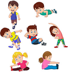 Cartoon kids yoga with different yoga poses vector