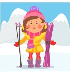 Cartoon people - Woman with skis vector image