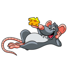 cartoon rat and cheese vector image