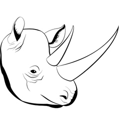 cartoon simple sketch african rhino with big horns vector image