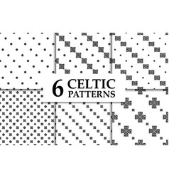 Celtic knot seamless pattern set vector