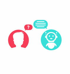 Chatbot concept man is asking question to chatbot vector