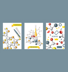 chemistry supplies set cards posters vector image