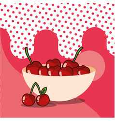 cherries in bowl harvest fruit tasty vector image