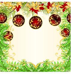 christmas and new year frame christmas tree vector image