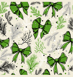 christmas seamless pattern with christmas bows vector image