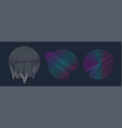 Circle design shape with glitch and liquid set vector