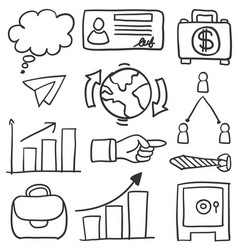 Collection of business object doodles vector