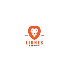 Cool lion head face orange logo design modern vector