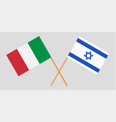 Crossed flags israel and italy vector