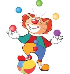 Cute Cat Clown Juggler Cartoon vector image
