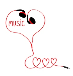Earphones and red cord in shape three hearts vector