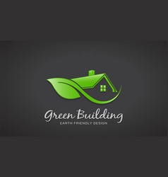 Eco friendly green house logo design vector