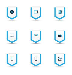 electronics icons colored set with sound system vector image