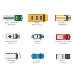 emergency vehicles top view icons set vector image