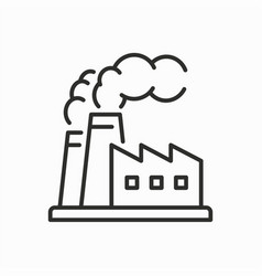 factory building line icon on white background vector image