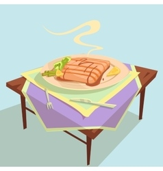 Fish Dish Cartoon vector