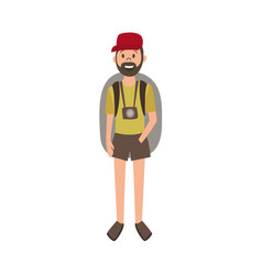 flat cartoon man hiker tourist vector image