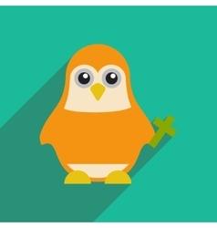 Flat icon with long shadow penguin cartoon vector