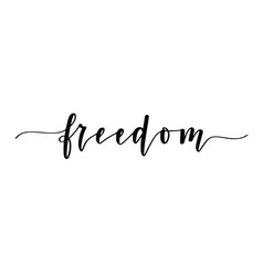 freedom calligraphy one word inspiration vector image