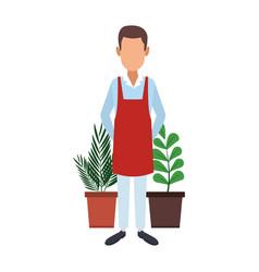 Gardener with plants vector