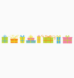 gift box icon set cute cartoon decoration element vector image