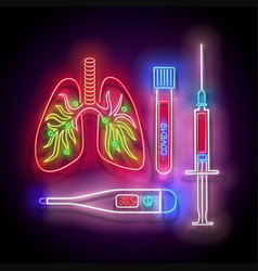 glow human lungs with pneumonia covid19 19 virus vector image