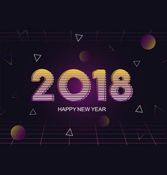 Happy new year retro 80s abstract greeting card vector