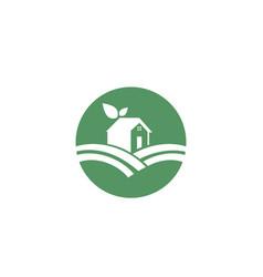 Home leaf green nature logo vector