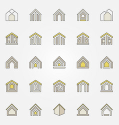 House colorful icons vector