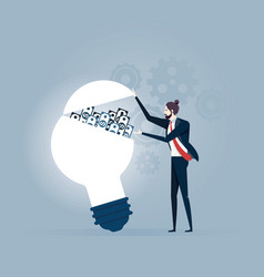 idea make money businessman opening a lightbulb vector image