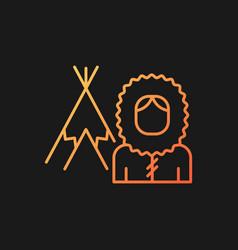 Inuit population gradient icon for dark theme vector