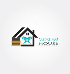 Islamic logo templatehouse and quran icon vector