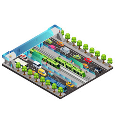 Isometric city traffic template vector