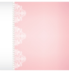 lace and pearl border on pink background vector image