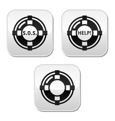 Life belt help sos buttons set vector