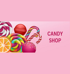 lollipop candy shop concept banner realistic vector image