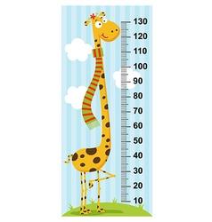 Long neck giraffe height measure vector