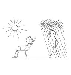 Man is enjoying nice day and good mood vector