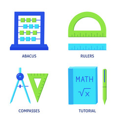 Math instruments icons set in flat style vector