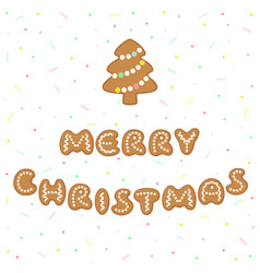 merry christmas greeting with gingerbread cookies vector image